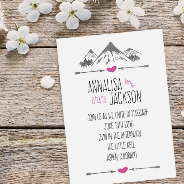 Mountain Wedding Invitation Suite Features Hip And Rustic Arrow