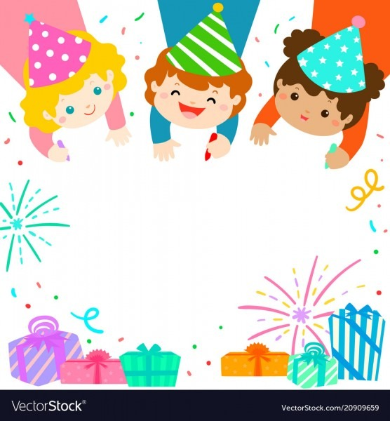 Multicultural Cute Kids Draw Invitation For Kids Vector Image