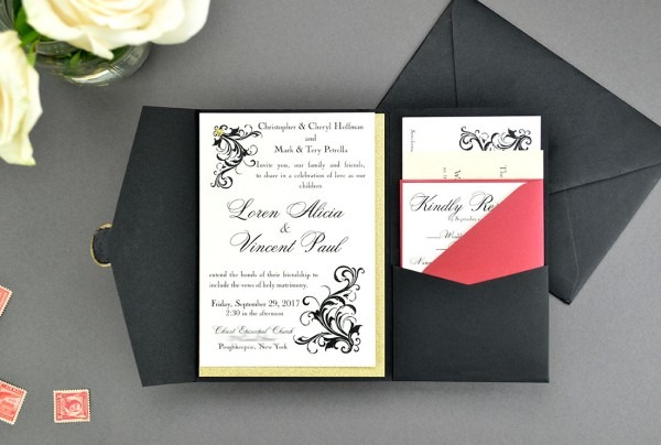My Diy Story  Elegant Black & Red Pocket Invitation