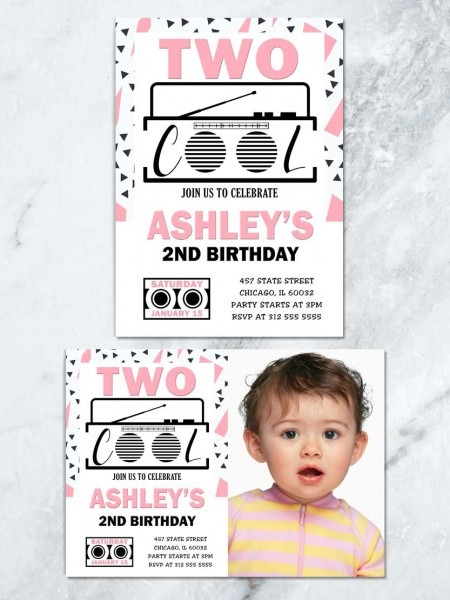Two Cool Birthday Invitation, Pink And Black 2nd Birthday Invite