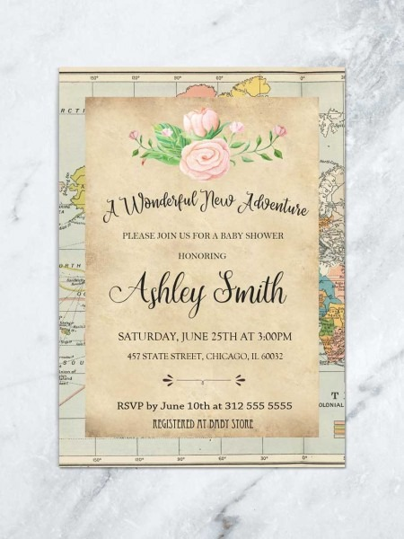 World Baby Shower Invitation, Map Baby Shower, Travel Baby Shower