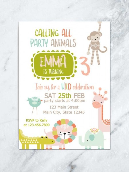 Party Animals Invitation, Zoo Birthday, Animal Theme Birthday