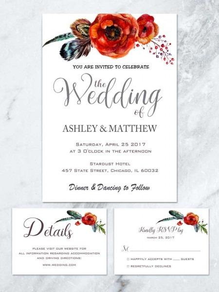 Boho Wedding Invitation, Poppy Watercolor Wedding Ivitation Suite