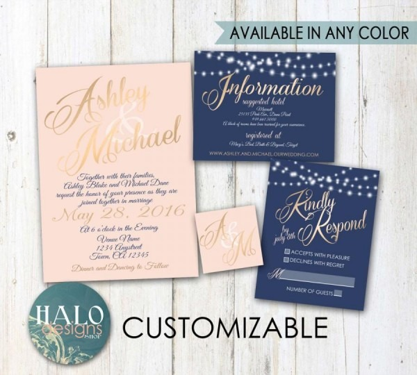 Navy And Blush Wedding Invitations Navy And Blush Wedding