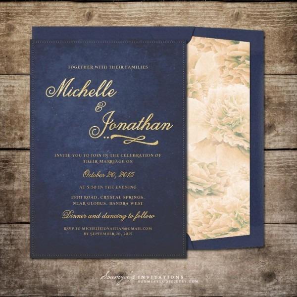 Navy Blue And Gold Wedding Invitation, Printable Wedding