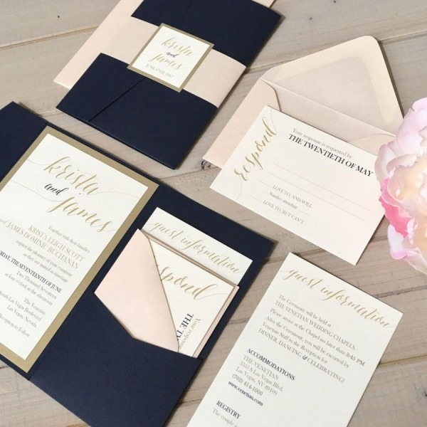 Navy, Blush And Gold Wedding Invitations, Navy And Pink Wedding