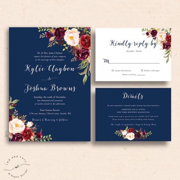 Navy Floral Wedding Invitations, Navy Wedding Invite, Marsala