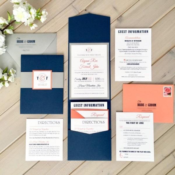 Navy, Gray And Coral Wedding Invitations, Modern Wedding