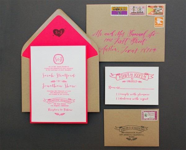 Diy Tutorial  Neon + Kraft Paper Wedding Invitations
