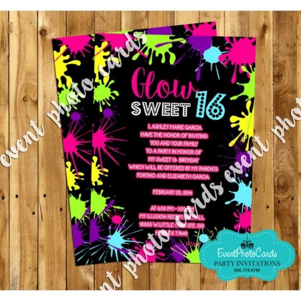Neon Glow Sweet Sixteen Invites, Teen Birthday Invitations Custom
