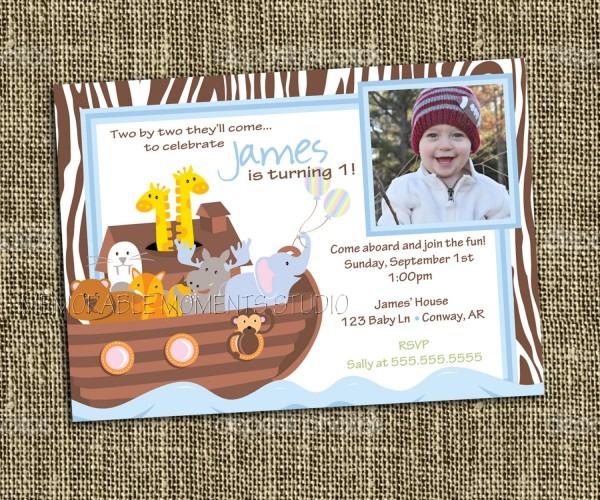 Printable  Noah S Ark Shower Invitations