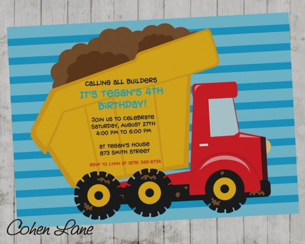 Images Of Garbage Truck Birthday Invitations Party