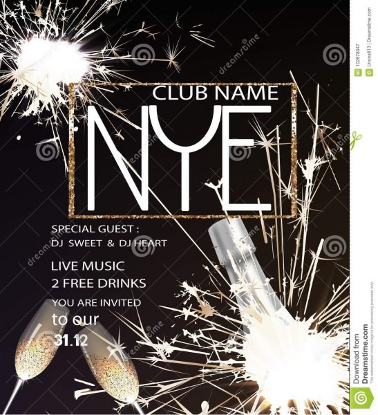 New Year Eve Party Invitation Card With Bottle Of Champagne