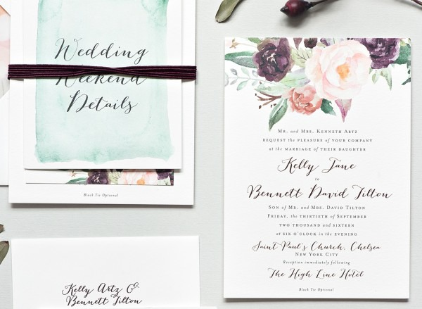 New York City Inspired Floral Watercolor Wedding Invitations