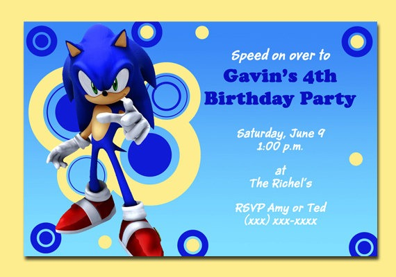 Fancy Sonic The Hedgehog Birthday Invitations