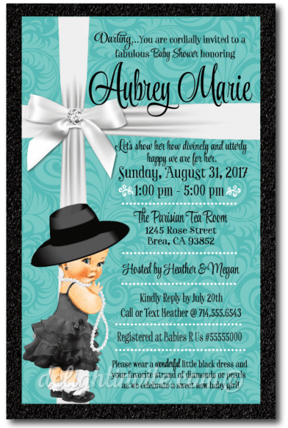 Fresh Tiffany Blue Baby Shower Invitations