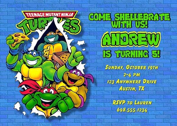 Ninjaturtlesinvitationblue Best Teenage Mutant Ninja Turtles Party