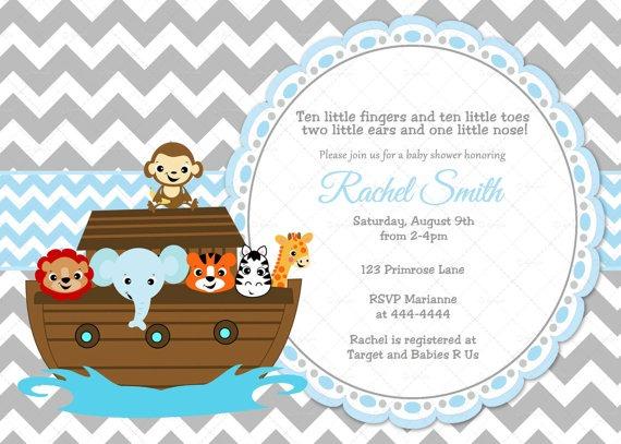 Noah's Ark Baby Shower Invitations Noahs Ark Baby Shower