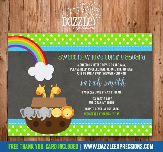 Noah Ark Baby Shower Invitations