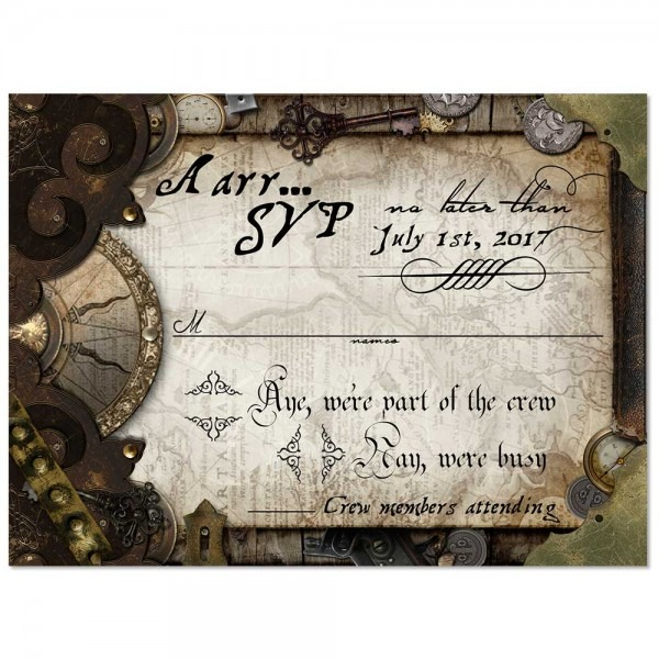Pirate Themed Old World Wedding Invitation For Offbeat Weddings