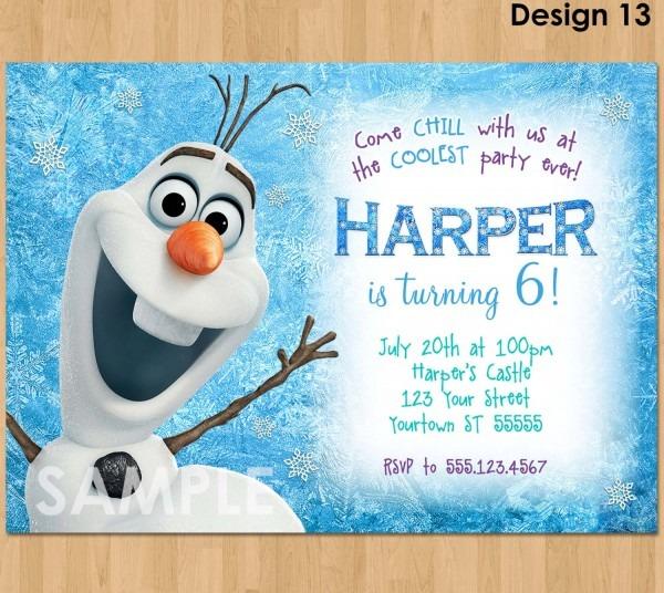Olaf Birthday Invitations Olaf Birthday Invitations With A