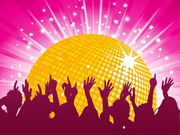 Orange Disco Ball And Crowd Party Ppt Backgrounds, Orange Disco