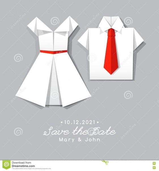Origami Dress And Shirt, Wedding Invitation Stock Vector