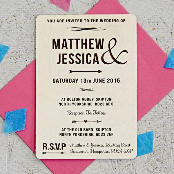Natural Arrow Wooden Wedding Invitation By Sophia Victoria Joy