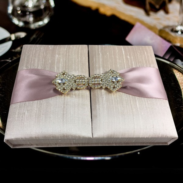 Premium Quality Thai Silk Invitation Box With Gold Plated