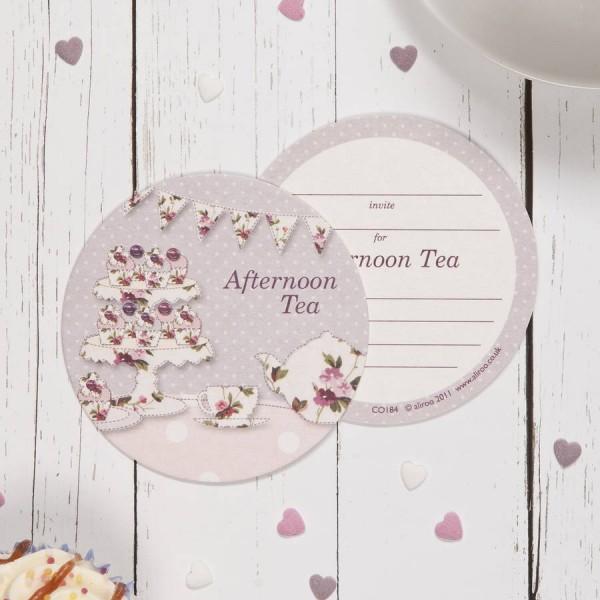 Vintage Afternoon Tea Coaster Invitations By Aliroo