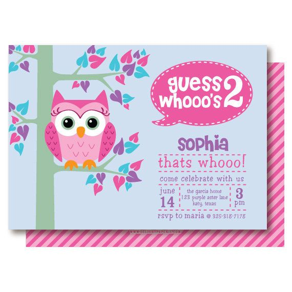Invitation Template  Owl Birthday Party Invites
