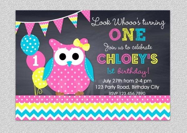 Owl Birthday Invitation Chevron New Owl Birthday Party Invites