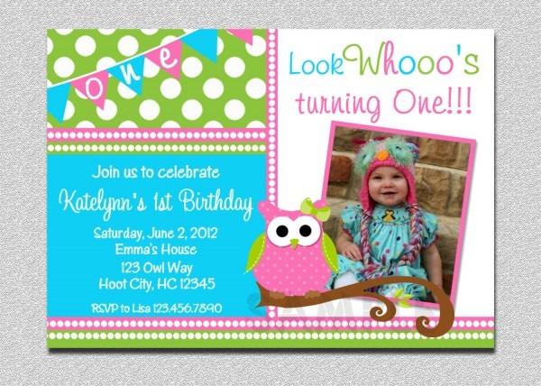 Owl Birthday Invitation Owl Birthday Fabulous First Birthday