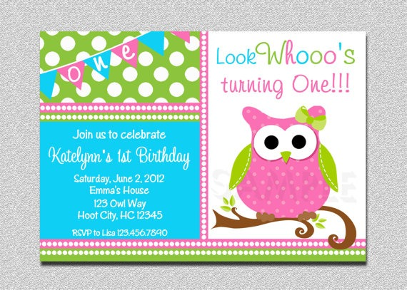 Pink And Purple Best Owl Birthday Invitations