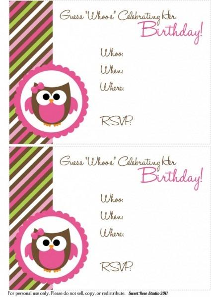 Owl Birthday Invitations Owl Birthday Invitations For Invitation