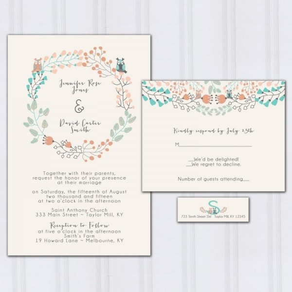 Owl Wedding Invitations, Floral Boho Wedding Invitation, Aqua Blue