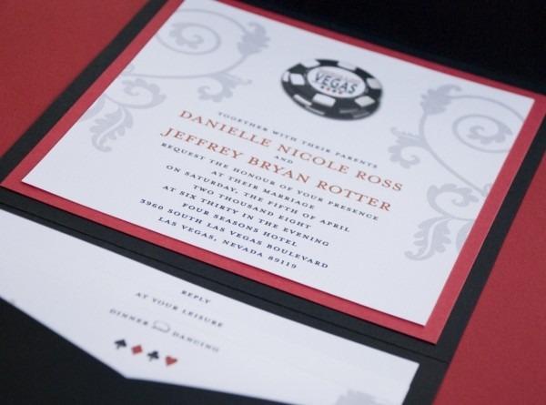 Vegas Poker Chip Wedding Invitation (pocket Fold)
