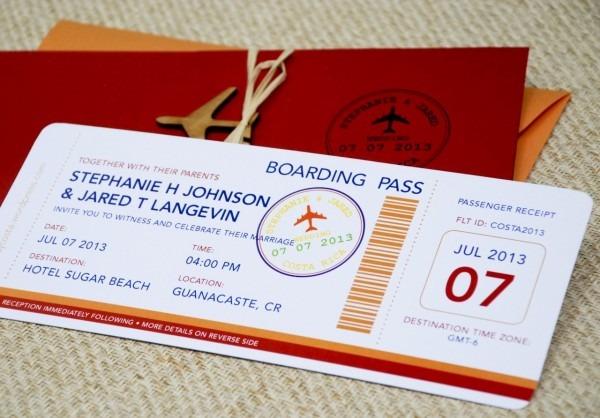 Modern Boarding Pass Wedding Invitation (costa Rica)