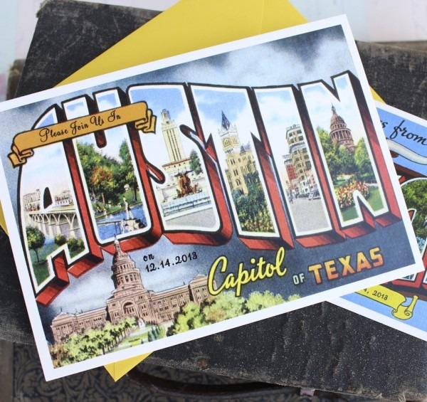 Vintage Travel Postcard Wedding Invitation (austin, Texas)