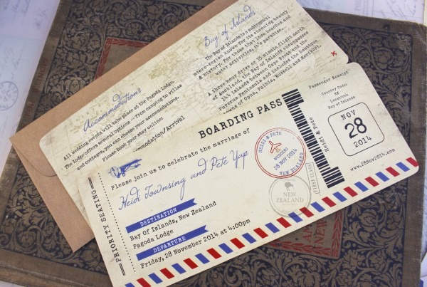 Vintage Air Mail Boarding Pass Wedding Invitation (new Zealand)