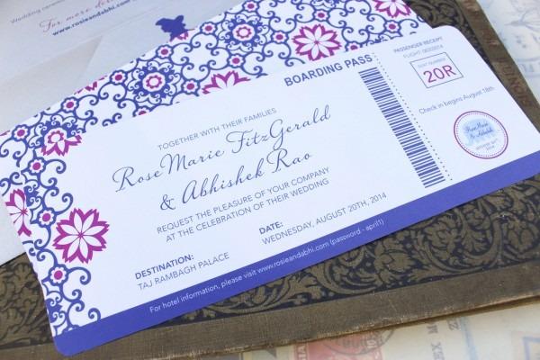 Modern Moroccan Boarding Pass Wedding Invitation (india)