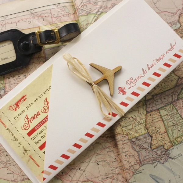 Vintage Air Mail Boarding Pass Wedding Invitation (new Orleans)
