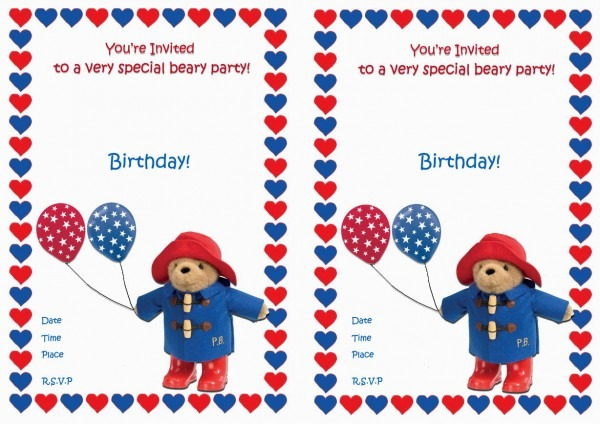 Paddington Bear Birthday Invitations – Birthday Printable
