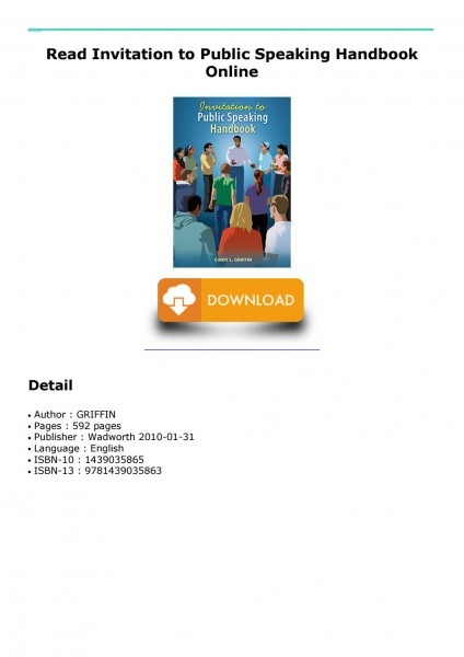 Read Invitation To Public Speaking Handbook Online By Hekok1061102