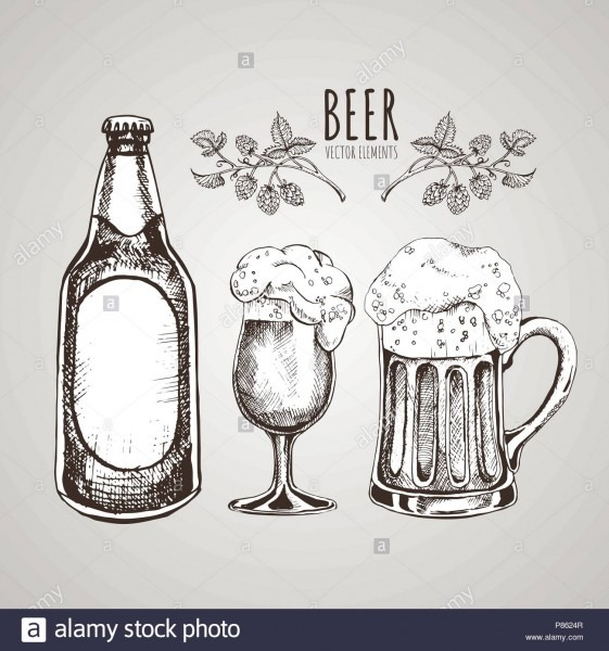 Painted Elements On The Theme Of Beer  Vector Set  Beer Glass, Mug