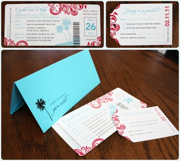 Custom Airline Ticket Wedding Invitations