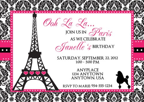 Paris Birthday Invit Superb Paris Party Invitation