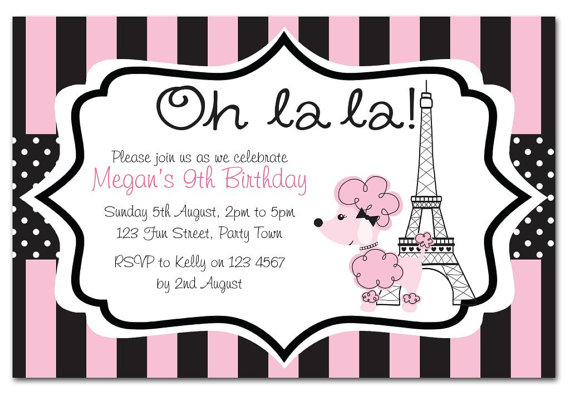 Paris Birthday Invitations Paris Birthday Invitations Birthday