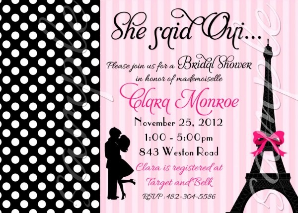 Paris Themed Bridal Shower Invitations With Outstanding