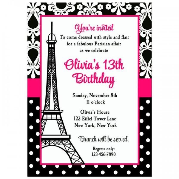 Paris Birthday Invitations Fr Fresh Paris Party Invitations Free